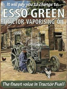 Esso Green Tractor Vaporising Oil Large Metal Sign 400mm x 300mm (og)